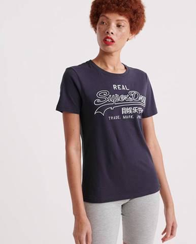 Tmavomodré dámske tričko s potlačou Superdry