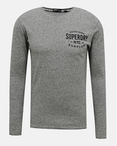 Šedé pánske tričko s pásom Superdry