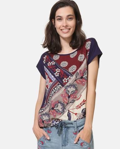 Tmavofialové vzorované tričko s kamienkami Desigual Ganges